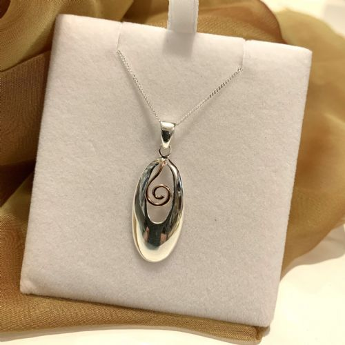 Oval Two Tone Sterling Silver And Rose Gilt Necklace Pendant